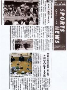 タウンニュース「力士の熱戦に大歓声」
